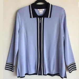 Misook Blue Purple Zip Jacket Sz M EXCELLENT